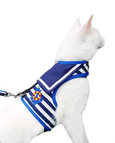 Yizhi Miaow Escape Proof Cat Harness with Leash Medium, Adjustable Cat Walking Jackets, Padded Cat Vest Sailor Suit Navy