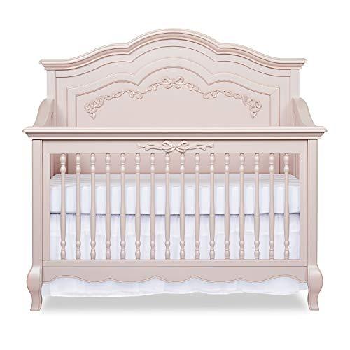 Evolur Aurora 5-in-1 Convertible Crib, Blush Pink Pearl 58x32x54 Inch (Pack of 1)