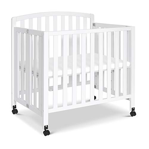 DaVinci Dylan Folding Portable 3-in-1 Convertible Mini Crib and Twin Bed in White, Greenguard Gold Certified