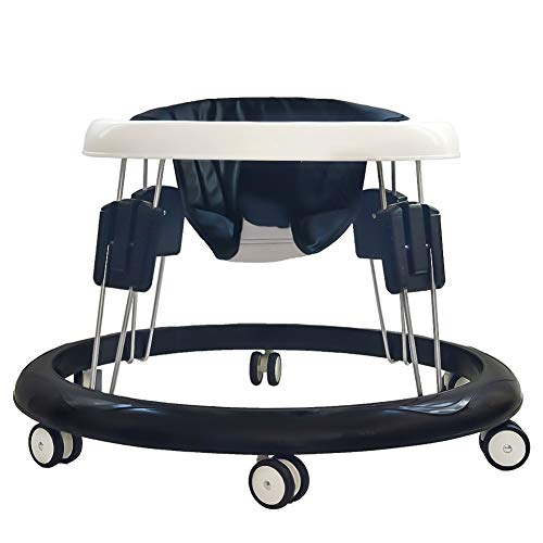Foldable Activity Baby Walker for Boys and Girls, Multifunctional Anti Rollover Toddler Walker Helper with Adjustable Height (PU Black Cushion)