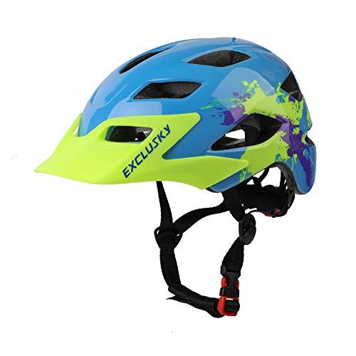 Exclusky Kids Bike Helmet, Lightweight Children Bicycle Helmet, Size Adjustable Child Cycling Helmets for Boys and Girls, 50-57cm (Ages 5-13)