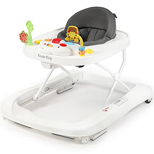 Kinder King 2 in 1 Folding Baby Walker, Activity Walker for Boys Girls, Learning-Seated, Toddler Walk-Behind w/Music Toys, Adjustable Height & Speed, Safety Bumper, Infant Walker Anti-Rollover, Grey