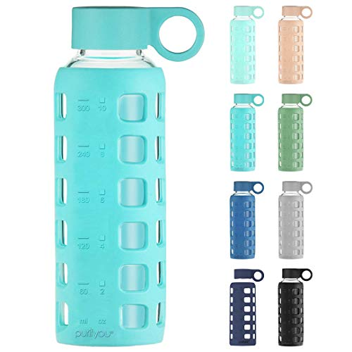 purifyou Premium Glass Water Bottle - 32, 22, 12 oz | with Non-Slip Silicone Sleeve & Stainless Steel Lid Insert, Sports Bottles, Time and Volume Markings | for Water, Juice, Milk, Container