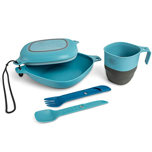 UCO 6-Piece Camping Mess Kit with Bowl, Plate, Camp Cup, and Switch Spork Utensil Set, Retro Sunrise, Classic Blue
