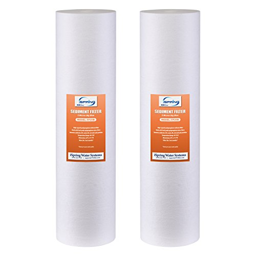 "iSpring FP25BX2 High Capacity 20"" x 4.5"" Water Replacement Cartridges Big Blue Fine Sediment Filters, 2 pieces / 5 microns, White, 2 Count"