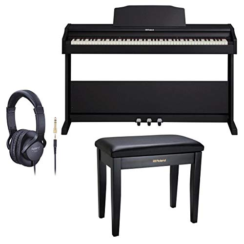 Roland RP-102 88 Key Digital Piano, Black - Bundle With Roland Piano Bench with Cushioned Seat and Storage Compartment Satin Black, Roland RH-5 Around-Ear Stereo Headphone with Conversion Plug