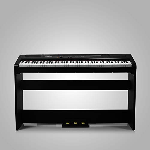 Artesia Harmony 88 Weighted Key Digital Piano - Black with Matching Furniture Stand and Three Pedal Board, includes Two Months of TakeLessons Online Lessons