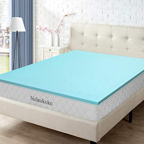 Nelaukoko 3 Inch Queen Memory Foam Mattress Pad, Gel-Infused Foam Mattress Topper Queen Size