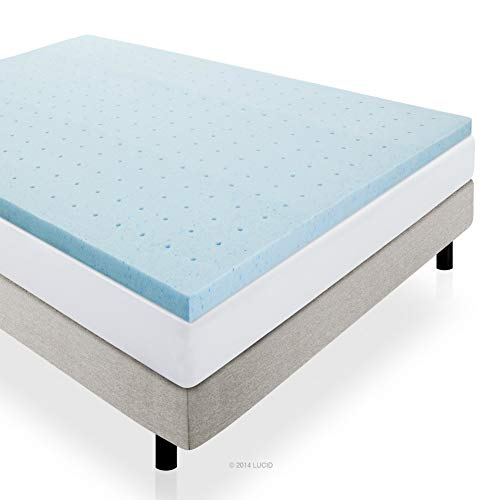 LUCID 2' Gel Infused Ventilated Memory Foam Mattress Topper, Queen