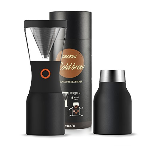 Asobu Coldbrew Portable Cold Brew Coffee Maker With a Vacuum Insulated 34oz Stainless Steel 18/8 Carafe Bpa Free