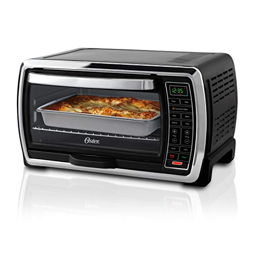 Oster Toaster Oven | Digital Convection Oven, Large 6-Slice Capacity, Black/Polished Stainless