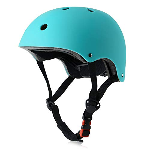 OUWOR Kids Skateboard Bike Helmet for Girl and Boy, CPSC Certified Lightweight Adjustable, Multi-Sport for Bicycle Cycling Skate Scooter (Aqua, Small)
