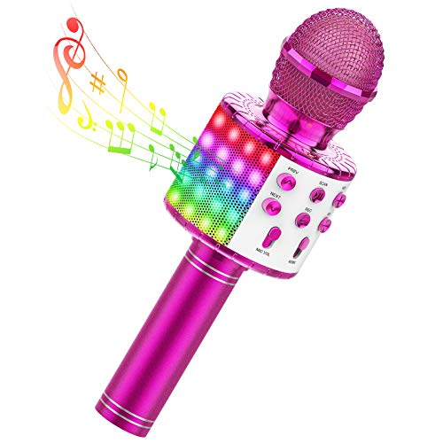 TECBOSS Kids Karaoke Microphone, 4 in 1 Portable Wireless Bluetooth Microphone Machine with LED Lights, Toys for Kids Girls Teens Adults