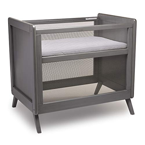 BreathableBaby Breathable Mesh Mini Crib with Mattress, Gray
