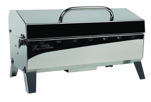 'Kuuma Premium Stainless Steel Mountable Charcoal Grill w/ Inner Lid Liner by Camco -Compact Portable Size Perfect for Boats, Tailgating and More - Stow N Go 160'' (58110)', silver