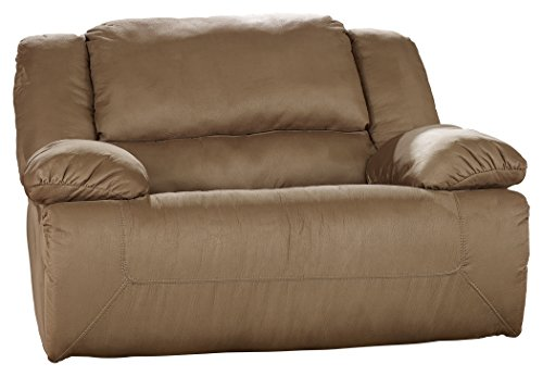 Signature Design by Ashley - Hogan Contemporary Zero Wall Wide Seat Recliner - Pull Tab Reclining - Brown