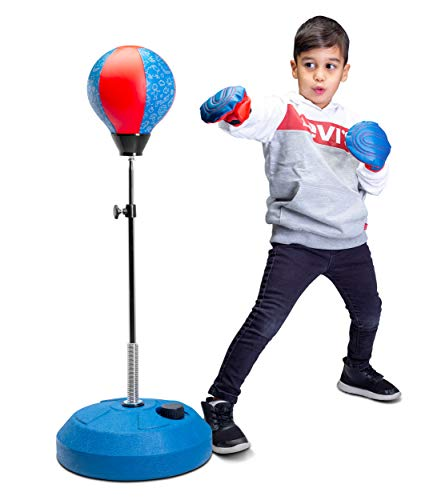 Tech Tools Punching Bag for Kids, Boxing Set with Stand and Kids Boxing Gloves Included - Height Adjustable - Great Exercise & Fun Activity for Kids Ages 5-12