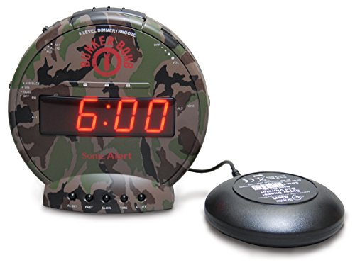 Sonic Bomb Dual Alarm Clock with Bed Shaker, Camouflage | Sonic Alert Vibrating Alarm Clock Heavy Sleepers, Battery Backup | Wake with a Shake