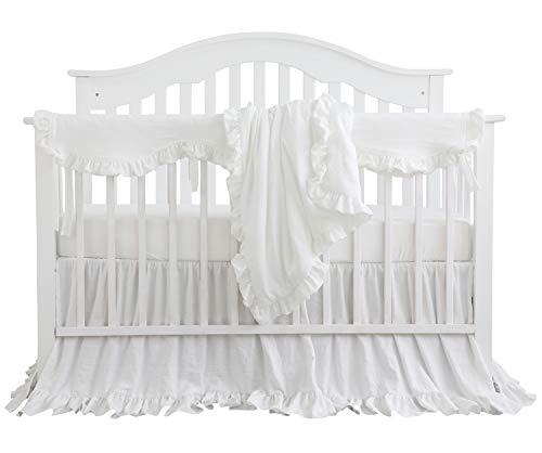 Blush Coral Pink Ruffle Crib Bedding Set Baby Girl Bedding Blanket Nursery Crib Skirt Set Baby Girl Crib Bedding Sheet (White, 4 Pieces Set with Rail Cover)