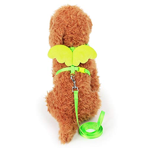 THE MIMI'S Adjustable Kitten Harness and Leash - Angel Wings Cat Leash (Green)