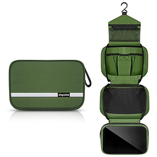 Dopobo Travel Toiletry Bag for Women, Dopp Kit for Men, Waterproof Makeup Bag Shaving Bag with Hanging Hook, Portable Toiletry Organizer for Traveling and Camping (Army Green)