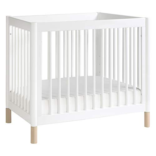 Babyletto Gelato 4-in-1 Convertible Mini Crib in White and Washed Natural, Greenguard Gold Certified
