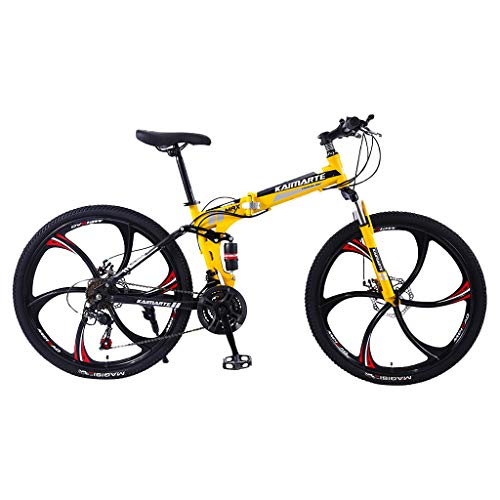 Adult Mountain Bikes - 26 Inch Steel Carbon Mountain Trail Bike High Carbon Steel Full Suspension Frame Folding Bicycles - 21 Speed ​​Gears Dual Disc Brakes Mountain Bicycle