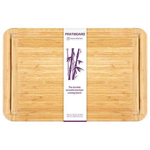 Pratico Kitchen Large Bamboo Cutting Board and Serving Tray with Juice Groove, 18 x 12 inch