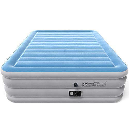 Vremi Inflatable Queen Air Mattress with Built-in Pump - 21.5' Raised Bed Height with Storage Bag for Camping and Travel - Premium Flocked Top and Sides