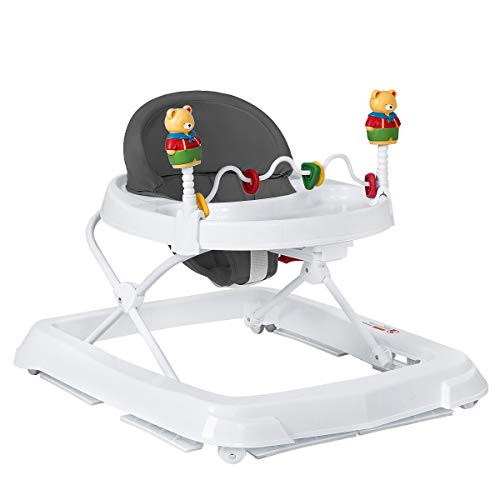 HONEY JOY Baby Walker, Toddler Seated Learning Walker, Adjustable Height, High Back Padded Seat & Activity Game Toy, Foldable Activity Walker for Infant Newborn Boy Girl