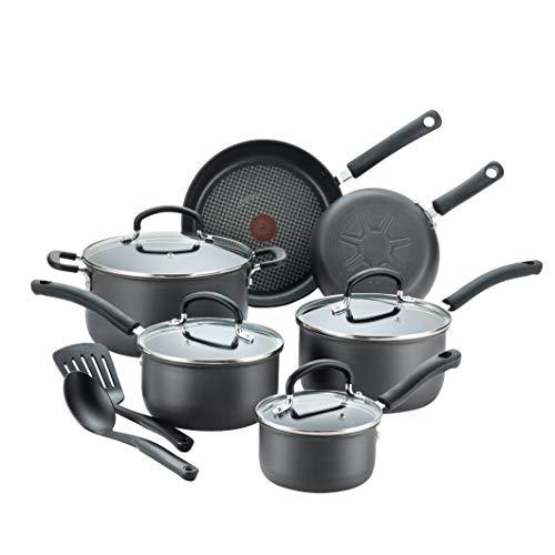 T-fal Ultimate Hard Anodized Nonstick 12 Piece Cookware Set, Dishwasher Safe Pots and Pans Set, Black