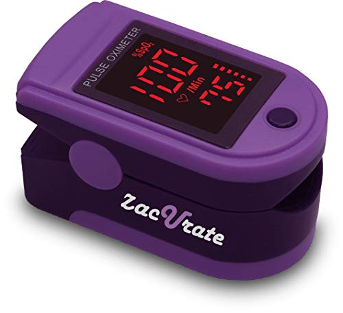 Zacurate Pro Series 500DL Fingertip Pulse Oximeter Blood Oxygen Saturation Monitor with Silicon Cover, Batteries and Lanyard (Royal Violet)