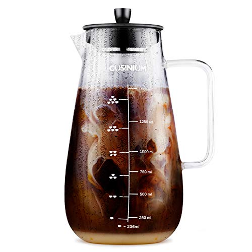 Large Cold Brew Coffee Maker - 1.5 Quart Iced Coffee Maker - Glass Coffee Carafe With Removable Stainless Steel Filter - Fruit infuser pitcher - Includes Scoop & Clip Spoon