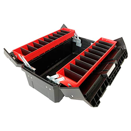 WEWLINE 18.5' Portable Tool Box,Multi-Function Thick Plastic Storage Box with Organizer Tray and Divider,Folding Double Clamshell Tools Container Perfect for Home Office Garge