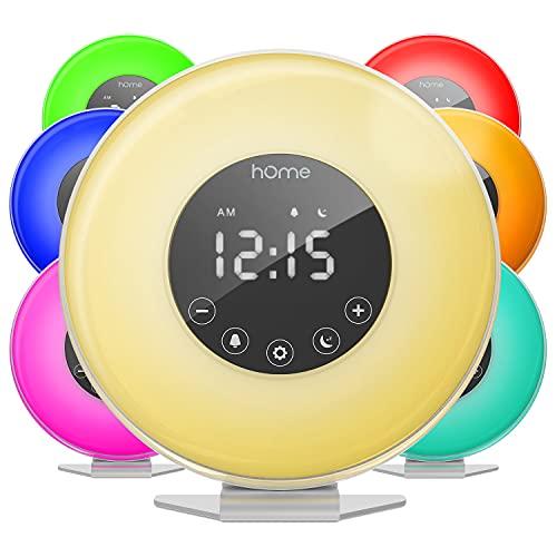Radiosveglia Sunrise di hOmeLabs - Orologio digitale a LED con interruttore per sei colori e radio FM - Vari suoni della natura, simulazione del tramonto e comandi tattili, con funzione Posponi per chi vuole dormire un po' di più.