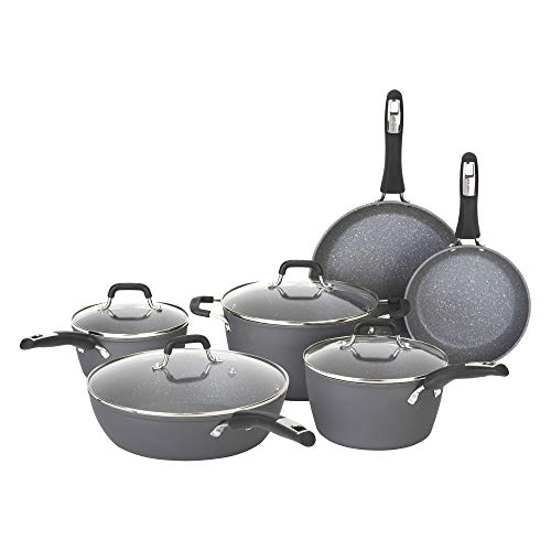 Bialetti Textured Nonstick 10-Piece Oven-Safe Cookware Set, Gray Impact