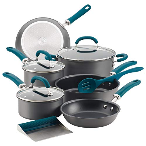 Rachael Ray Create Delicious Hard Anodized Nonstick Cookware Pots and Pans Set, 11 Piece, Gray with Teal Handles