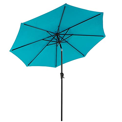COBANA Patio Umbrella Outdoor Table Umbrella of 9-Feet with 8 Ribs and Push Button Tilt and Crank, Turquoise