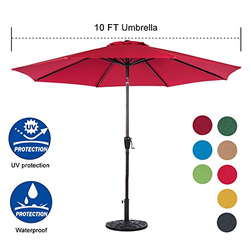 Sundale Outdoor 10 Feet Aluminum Market Umbrella Table Umbrella with Crank and Auto Tilt for Patio, Garden, Deck, Backyard, Pool, 8 Alu. Ribs, 100% Polyester Canopy (Red)