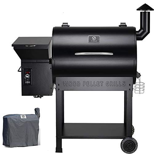 Z GRILLS ZPG-7002B 2020 Upgrade Wood Pellet Grill & Smoker, 8 in 1 BBQ Grill Auto Temperature Controls, 700 sq inch Cooking Area, Black