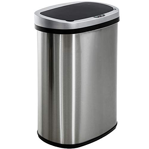 Garbage Can Automatic Kitchen Trash Can for Bathroom Bedroom Home Office 13 Gallon 50 Liter Automatic Touch Free High-Capacity with Lid Brushed Stainless Steel Waste Bin