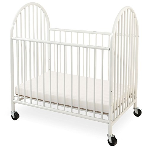 LA Baby Arched Metal Compact Crib White