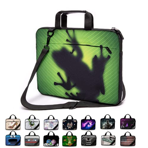 Funky Planet 15' - 15.6 inch Canvas Strong Laptop Notebook Case Bag with Handle, Strap and Zipped Pocket Protective Cover Bags/Cases