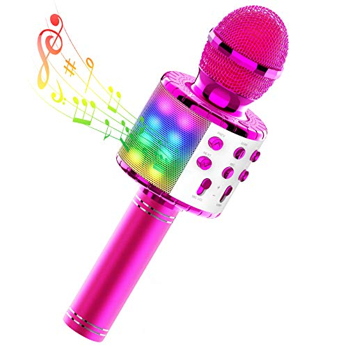 TECBOSS Kids Karaoke Microphone, Wireless Bluetooth Microphone Machine with LED Lights for Kids Girls Teens Adults