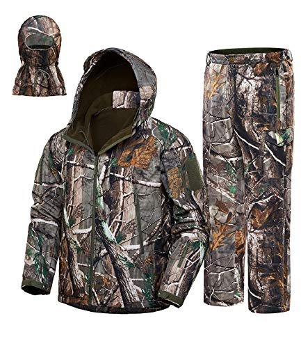 NEW VIEW Upgraded Hunting Clothes for Men,Silent Water Resistant Hunting Suits,Hunting Jacket and Pants (XXL, Camo Leaf)