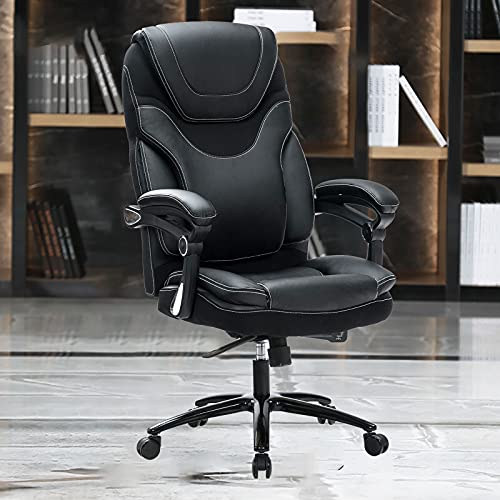 KCREAM Office Chair,Adjustable Computer Chair PU Leather Swivel Task Chair Flip-up Armrests Ergonomic Desk Chair with Thick Padded Lumbar Support (9109-black)