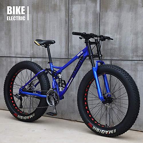 GaoFan Bicycle MTB Top, Fat Wheel Motorbike/Fat Bike/Fat Tire Mountain Bike, Beach Cruiser Fat Tire Bike Snow Bike Fat Big Tyre Bicycle 21speed Fat Bikes for Adult,Blue,26IN