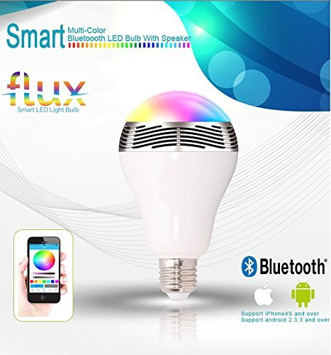 Flux Melody Bluetooth Speaker Light Bulb - Smart LED Color Changing Light - Great for Home, Office, Bathrooms, Bedrooms and Kitchen - 6W E26 Base