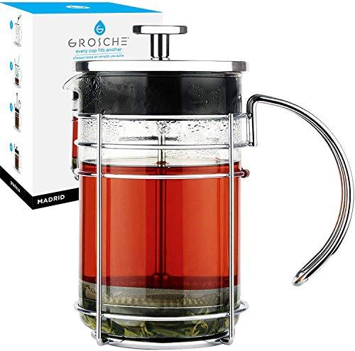 GROSCHE Madrid French Press Coffee Maker, Tea Press Coffee Press 1.0L / 34 oz quality Premium borosilicate glass, stainless steel coffee filter. French Press for coffee or use as a tea press. Premium quality.