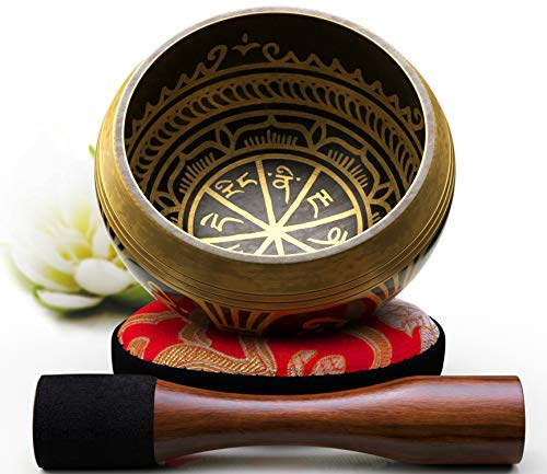 Silent Mind ~ Tibetan Singing Bowl Set ~ Antique Design ~ With Dual Surface Mallet and Silk Cushion ~ Promotes Peace, Chakra Healing, and Mindfulness ~ Exquisite Gift